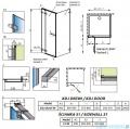 Radaway Euphoria KDJ Kabina prysznicowa 90x90 lewa szkło przejrzyste rysunek techniczny