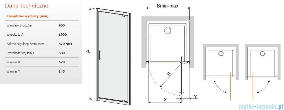 Sanplast Tx Drzwi Przesuwne Djtx5b 90x190 Cm Przejrzyste