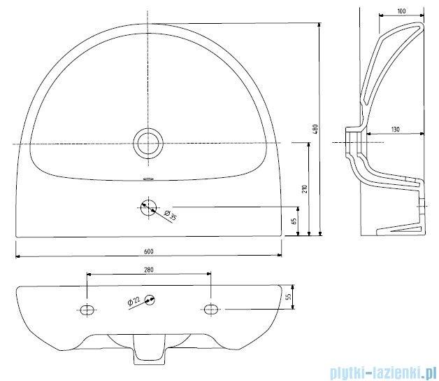 Koło Nova Pro Umywalka Owalna 60 Cm Z Otworem Z Przelewem M31160
