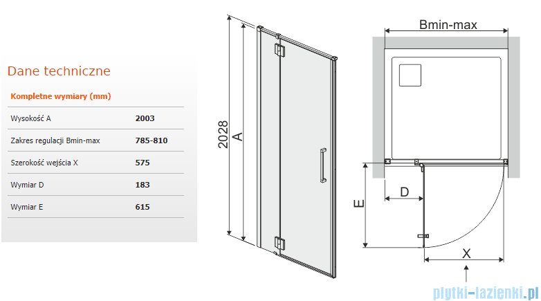 Sanplast Space Line Dj2lspace Drzwi Prysznicowe 80x203 Cm Lewa Przejrzyste 600 100 1620 42 401