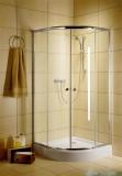 Radaway Classic A Kabina prysznicowa półokrągła z drzwiami przesuwnymi 80x80x185 szkło grafitowe profile białe 30010-04-05