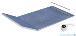Schedpol Schedline brodzik posadzkowy podpłytkowy z odpływem liniowym slight steel 130+50x80x5/12cm 10ST.1S2-80180
