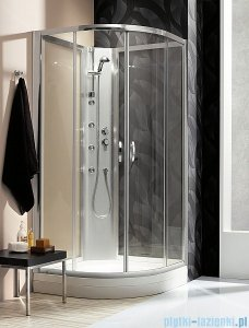 Radaway Quattra Kabina półokrągła 925×925 szkło przejrzyste + brodzik + panel 33003-01-01N,33103-01-01N