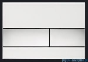 Tece Przycisk spłukujący ze szkła do WC Tecesquare szkło białe przyciski chrom połysk 9.240.802