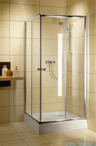 Radaway Classic C Kabina prysznicowa kwadratowa z drzwiami przesuwnymi 80x80 szkło brązowe profile białe 30060-04-08