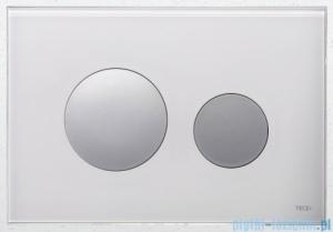 Tece Przycisk spłukujący ze szkła do WC Teceloop szkło białe przyciski chrom połysk 9.240.660