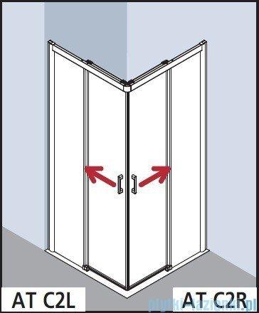 Kermi Atea Wejście narożne lewe, połowa kabiny, szkło przezroczyste, profile białe 120x200cm ATC2L120202AK