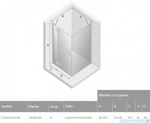 New Trendy New Renoma Black kabina prostokątna 100x80x195cm przejrzyste lewa D-0205A/D-0110B