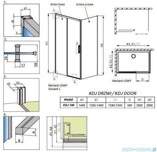 Radaway Idea Kdj drzwi 140cm lewe szkło przejrzyste 387044-01-01L