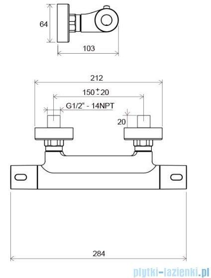Ravak Termo bateria natryskowa ścienna termostatyczna X070096