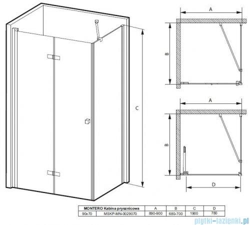 Massi Montero kabina prostokątna bifold 90x70x190cm przejrzyste MSKP-MN-0029070