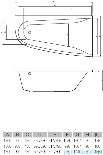 Vayer Bumerang 160x90cm Wanna asymetryczna lewa