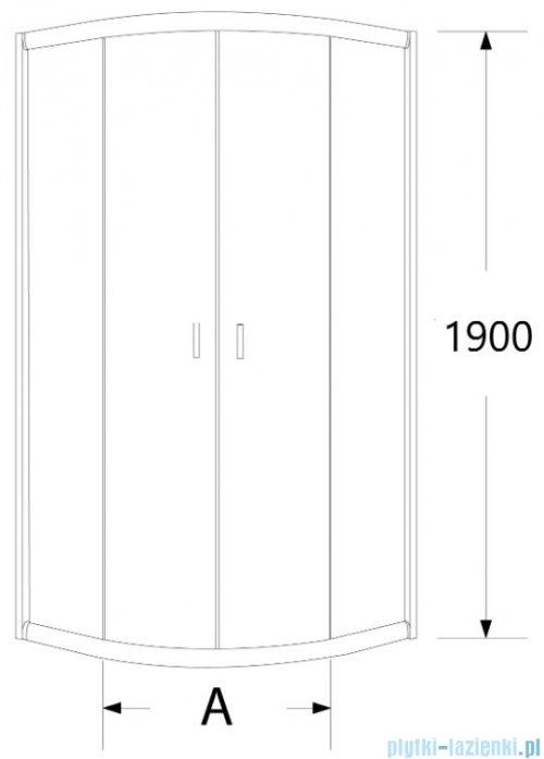 Sea Horse Stylio kabina natryskowa półokrągła 90x90x190 cm grafit BK502G+