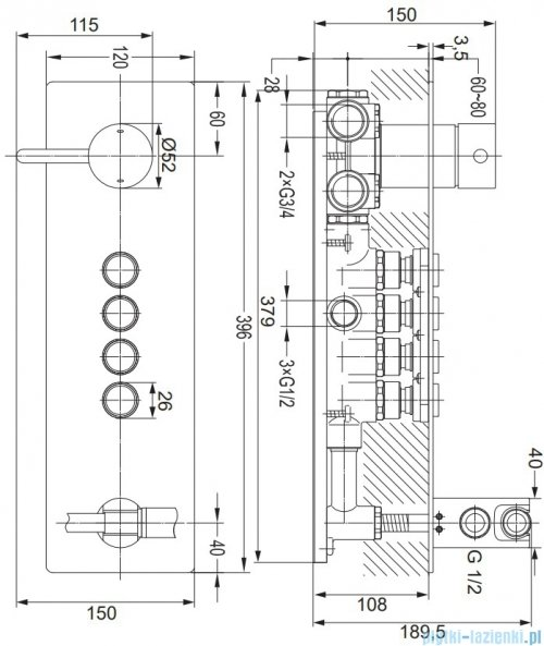 Omnires Y bateria natryskowa podtynkowa 4-wyjściowa GoClick chrom Y1239/1GCCR