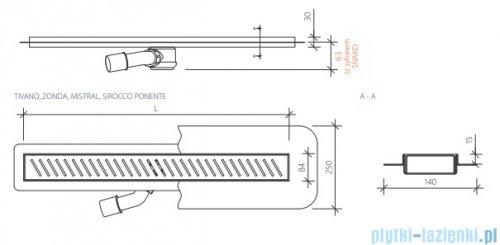 Wiper New Premium Sirocco Odpływ liniowy z kołnierzem 120 cm szlif 100.1971.02.120