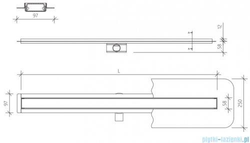 Wiper Premium Slim Sirocco odpływ liniowy 100 cm z kołnierzem rysunek techniczny