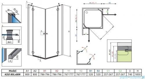 Radaway Torrenta Kdd kabina 80x80 szkło grafitowe 32262-01-05N