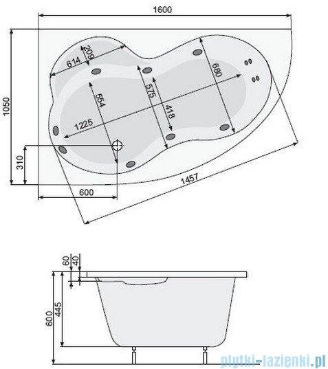 Poolspa Wanna asymetryczna MISTRAL 160x105 lewa + hydromasaż Smart 2 PHA3Y10ST2C0000