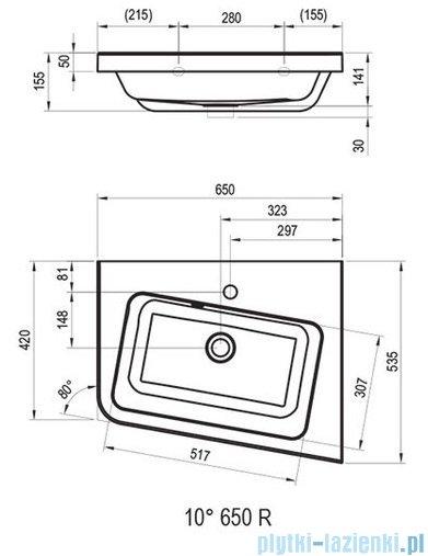 Ravak 10º umywalka 65x53,5cm prawa biała XJIP1165000