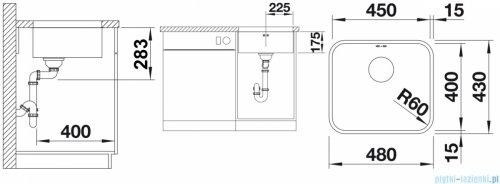 Blanco Supra 450-U komora podwieszana  stal szlachetna szczotkowana bez k. aut.  518203