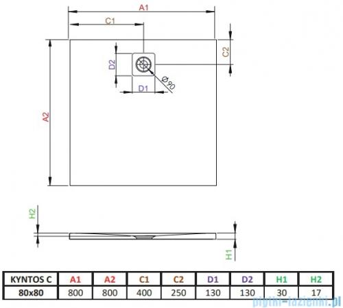 Radaway Kyntos C brodzik kwadratowy 80x80cm antracyt HKC8080-64