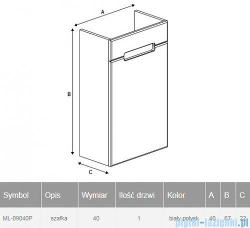 New Trendy Micra szafka wisząca podumywalkowa 40 cm biały połysk prawa ML-9040P