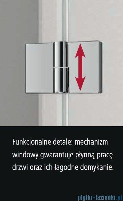 Kermi Osia Drzwi wnękowe z polem stałym, lewe, szkło przezroczyste OsiaClean, profile srebrne 75x200cm OSSFL07520VPK