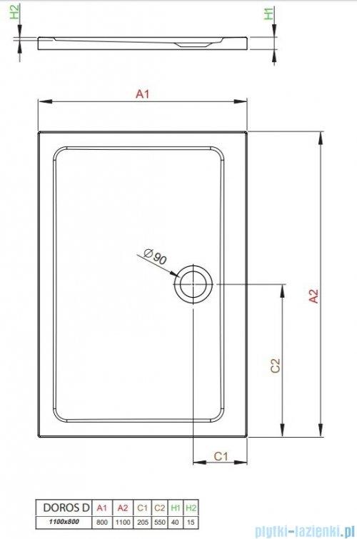 Radaway Doros Plus D Brodzik prostokątny 110x80x4cm SDRPD1180-01