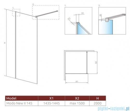 Radaway Modo X II kabina Walk-in 145x200 szkło przejrzyste 10mm 389345-01-01