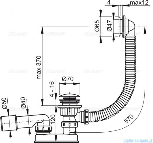 Alcaplast  syfon wannowy klik-klak, chrom A505KM-100
