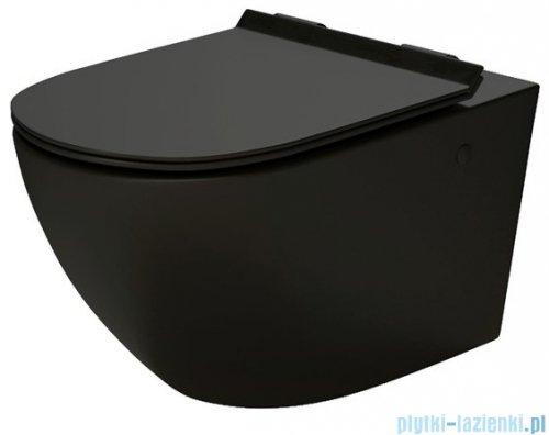 Massi Decos matt black Rimless miska wisząca+deska wolnoopadająca z zawiasem metalowym czarna MSM-3673RIMSLIM-MB