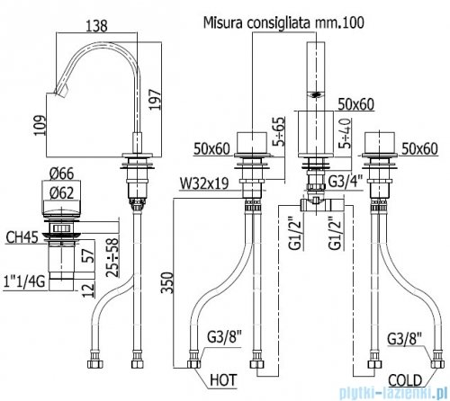 Paffoni Bateria umywalkowa stojąca 3-elementowa Level Piatta  chrom LEP053CR