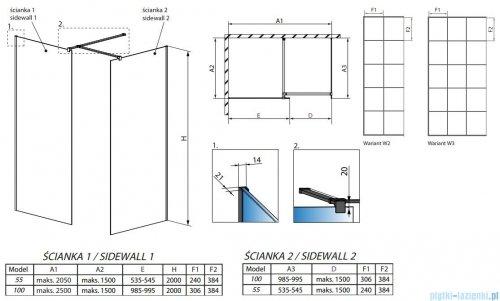 Radaway Modo New Black III kabina Walk-in 55x100x200 Frame rysunek techniczny