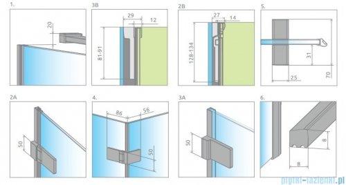 Radaway Arta Dwd+s kabina 95 (40L+55R) x70cm lewa szkło przejrzyste rysunek techniczny