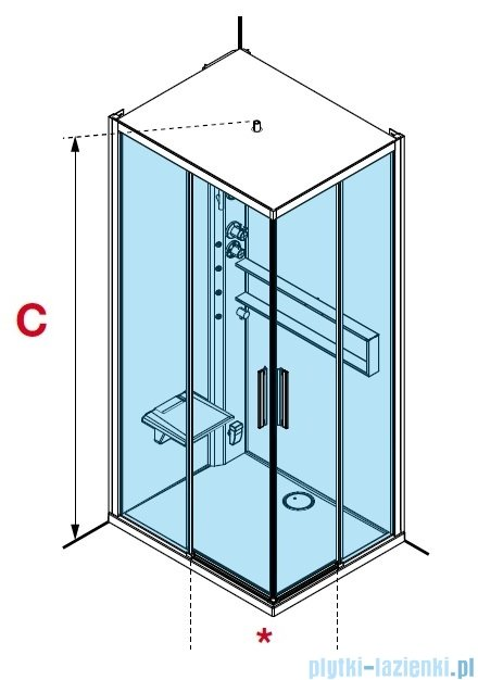 Novellini Glax 2 2.0 kabina z hydromasażem 90x70 lewa total biała G22A9070ST1-1UU