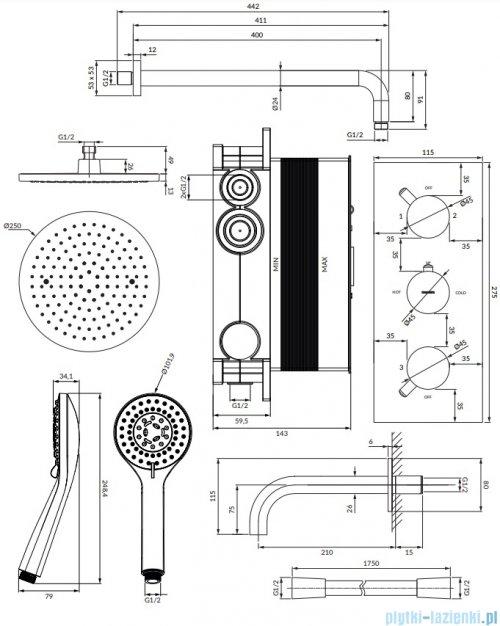 Omnires Y zestaw podtynkowy termostatyczny wannowo-prysznicowy chrom SYSYS02XCR
