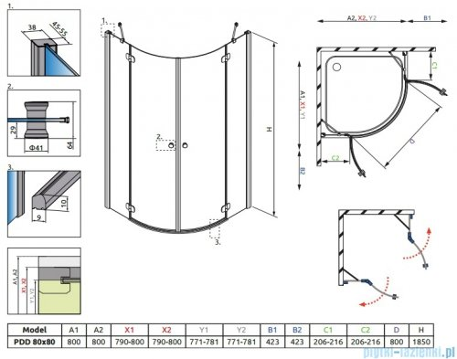 Radaway Torrenta PDD Kabina półokrągła 80x80 szkło przejrzyste 31610-01-01N