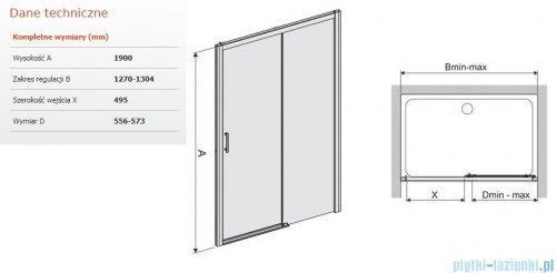 Sanplast Free Zone drzwi przesuwne D2P/FREEZONE 130x190 cm prawa przejrzyste 600-271-3180-38-401