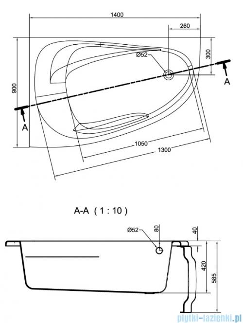 Cersanit Joanna New wanna asymetryczna 140x90 lewa S301-165