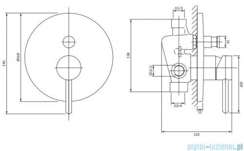 Omnires Y bateria natryskowa-wannowa podtynkowa z przełącznikiem złoto szczotkowane Y1235GLB