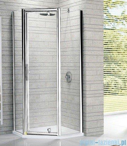 Novellini Kabina prysznicowa pięciokątna LUNES Pentagon G 140x90 cm szkło przejrzyste profil srebrny LUNESPG140-1B