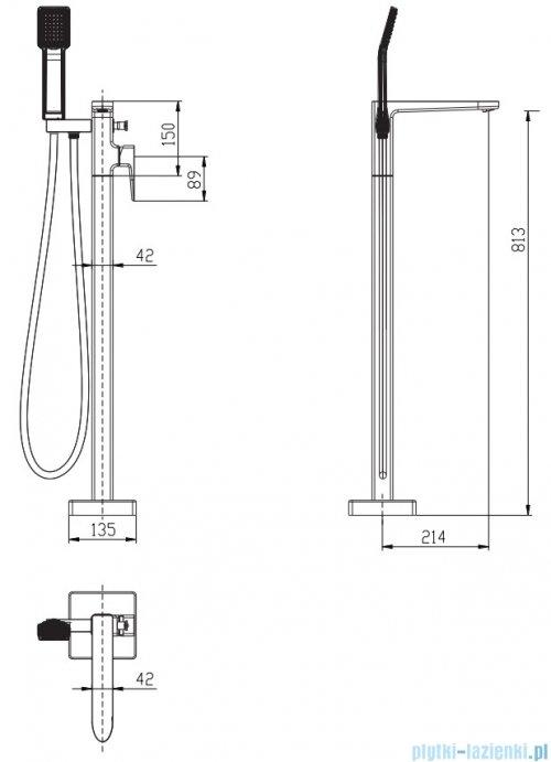 Omnires Siena bateria wannowa wolnostojąca chrom SN7333CR