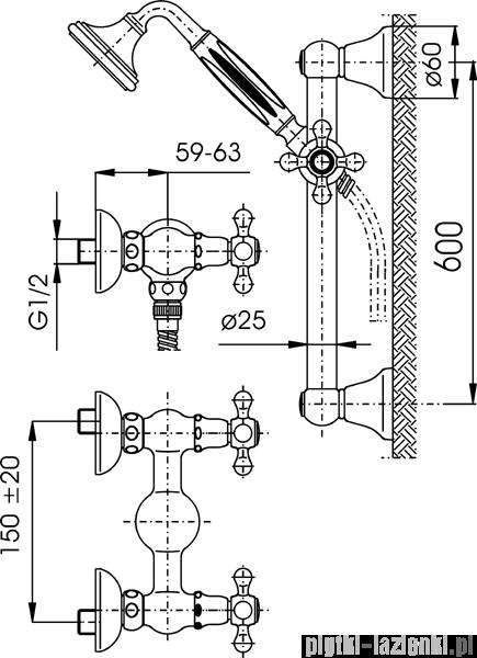 KFA RETRO CLASSIC bateria natryskowa CHROM   386-321-00