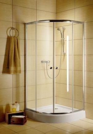 Radaway Classic A Kabina prysznicowa półokrągła z drzwiami przesuwnymi 90x90x185 szkło fabric