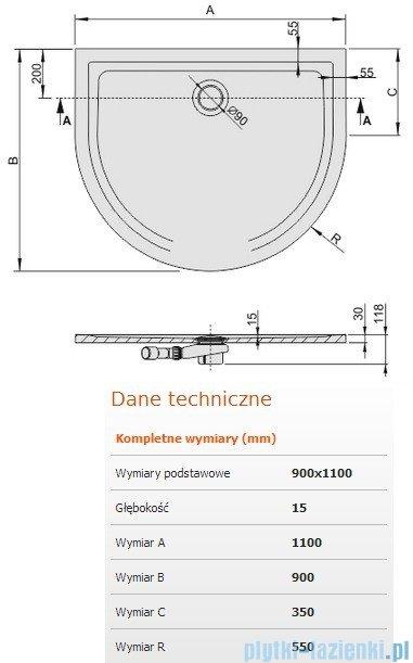 Sanplast Space Line brodzik przyścienny 110x90x1,5cm+syfon 645-290-0450-01-000