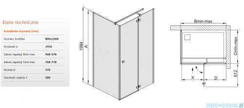 Sanplast kabina narożna prostokątna  KNDJ2/FREE-80x100 80x100x195 cm przejrzyste 600-260-0650-42-401