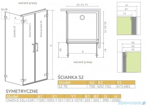 Radaway Arta Dwd+s kabina 110x70cm prawa szkło przejrzyste 386183-03-01R/386058-03-01L/386109-03-01