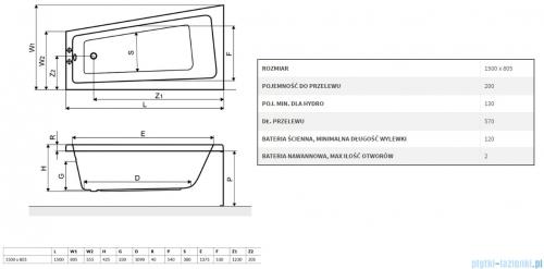 Wanna asymetryczne Excellent AVA SIDE 150x80 biała z nogami prawa WAEX.AVP15WH
