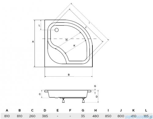Piramida Diper I Brodzik 80x80x24/35cm półokrągły głęboki z siedziskiem #BAD-80-NK