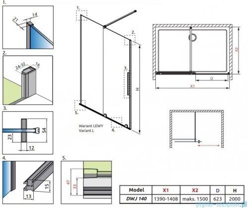 Radaway Furo Black DWJ drzwi prysznicowe 140cm lewe szkło przejrzyste 10107722-54-01L/10110680-01-01